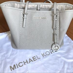 Michael Kors Gray Leather Silver Studded Purse